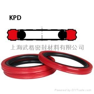 活塞(孔)用KPD型 聚氨酯+丁腈橡胶 双向密封圈 1