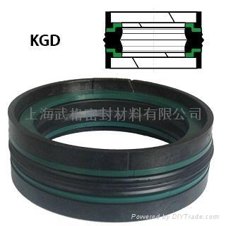活塞(孔)用KGD型 丁腈橡膠+熱塑性聚酯樹脂+縮醛樹脂 組合式密封圈 1