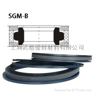 活塞(孔)用SGM-B型 聚四氟乙烯+尼龙+丁腈橡胶 组合密封圈 1