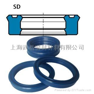 活塞杆(轴)用SD型 聚氨酯 双唇挤压密封圈 1