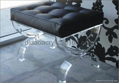 acrylic stool with cushion. lucite stool, plexiglass transparent stool