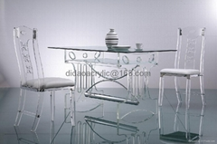 lucite transparent acrylic glass dining table
