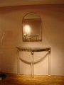 clear half circle wall console table