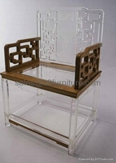 ACRYLIC CHAIR WITH WOODEN ARMREST, PERPEX GLASS AND WOODEN CHAIR