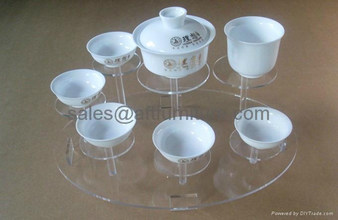 有機玻璃陶瓷茶具展示架,壓克力展示架 3