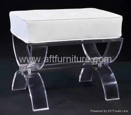 acrylic stool with cushion. lucite stool, plexiglass transparent stool 2