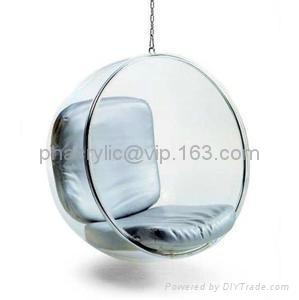 Acrylic Hanging Bubble Chair/PU Cushion Swing Chair ...