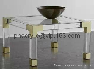 acrylic square coffee table with metal parts  1