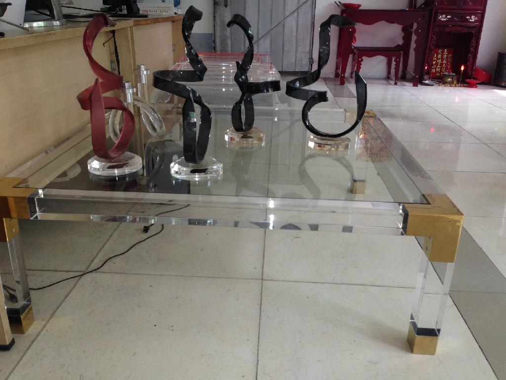acrylic square coffee table with metal parts  2