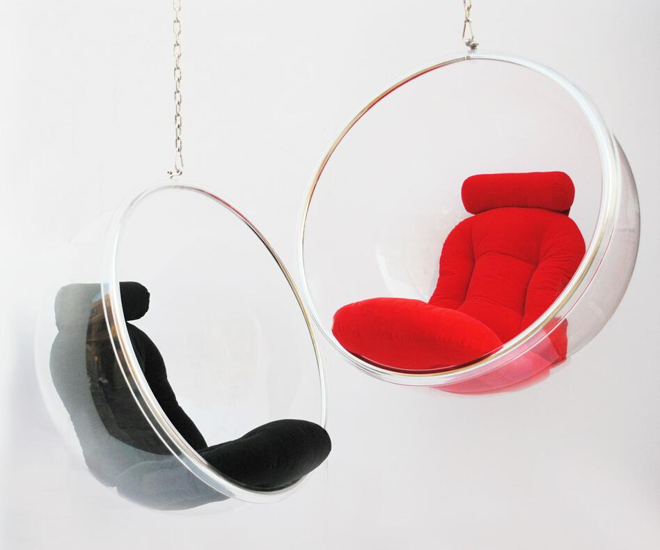acrylic hanging bubble chairpu cushion swing chair 3