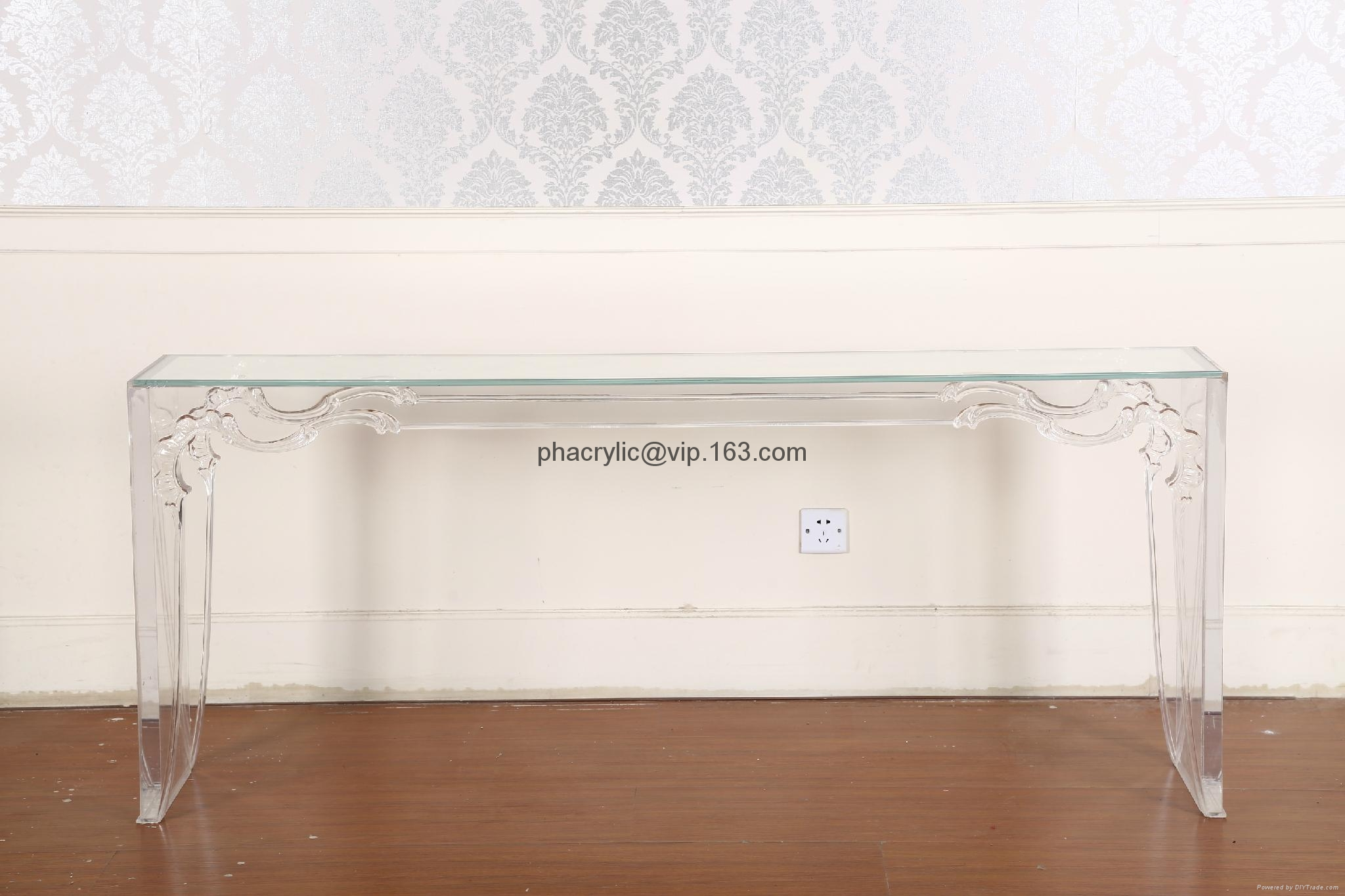 perspex glass console table with graved flower design 1