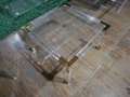 acrylic square coffee table with metal parts
