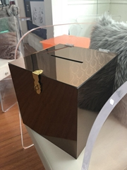 Acrylic cubic storage box with lock perspex glass box