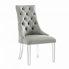 Acrylic leg armless dining chair