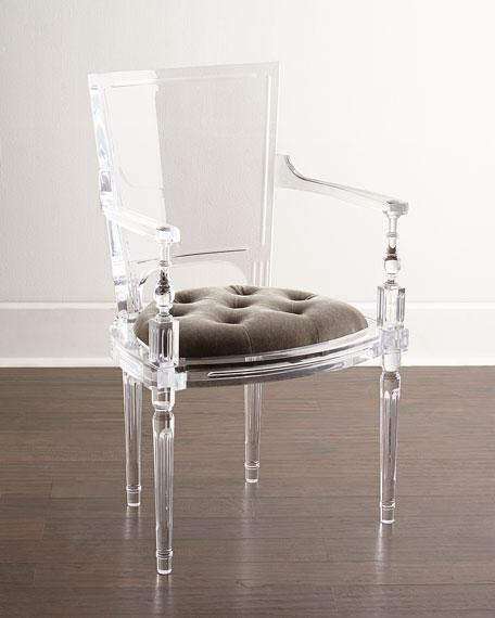 Acrylic plexiglass dining chair with armrest and backrest 1