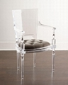 Acrylic plexiglass dining chair with armrest and backrest