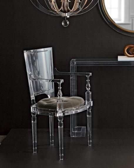 Acrylic plexiglass dining chair with armrest and backrest 2