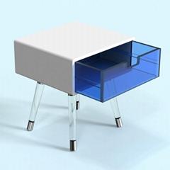 款透明亞克力腳與金腳框結合床頭櫃