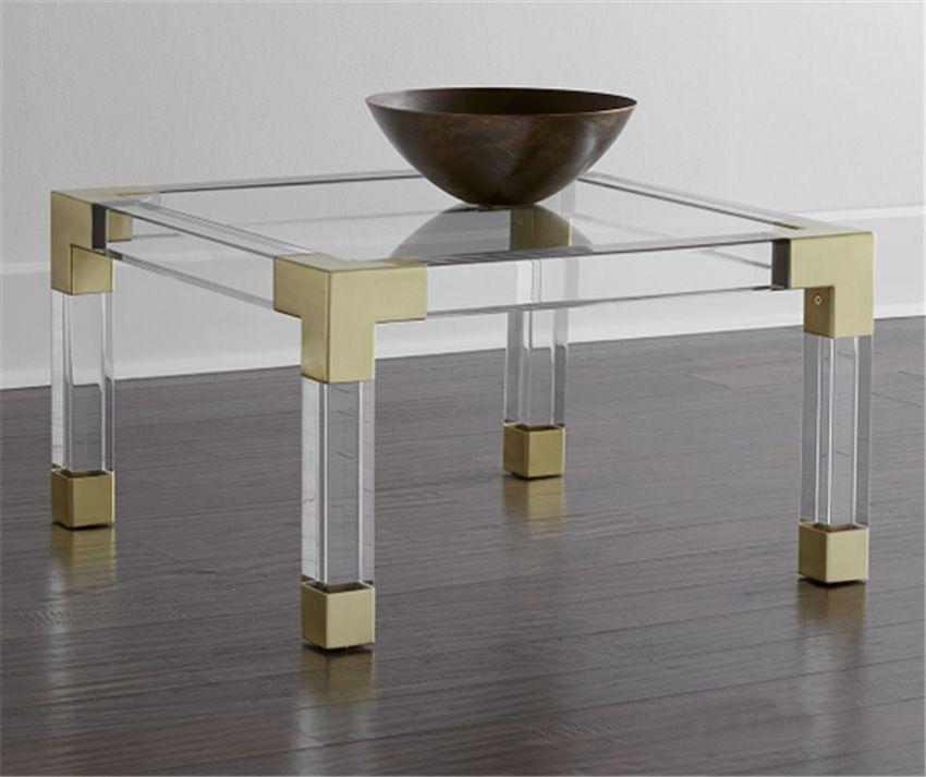 acrylic square coffee table with metal parts  5