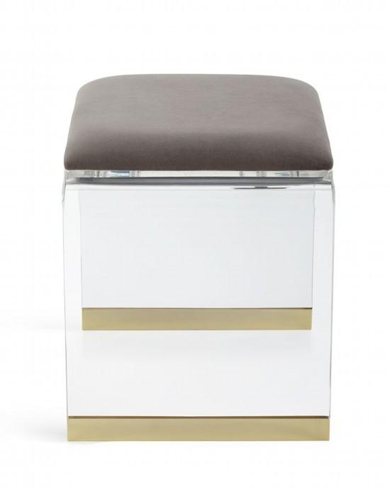 perspex glass transparent stool with cushion 2