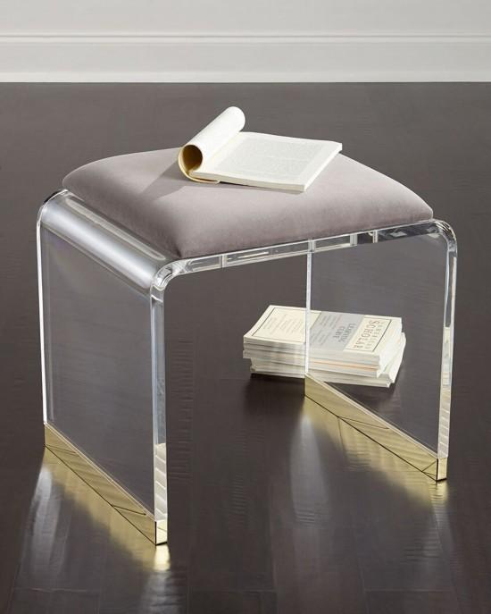 perspex glass transparent stool with cushion 1