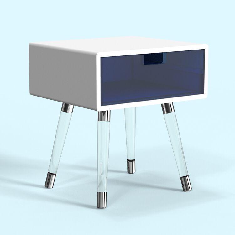 款透明亞克力腳與金腳框結合床頭櫃 2