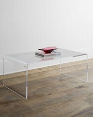 ONE SET THREE PIECES ACRYLIC PERPEX GLASS SIDE TABLES