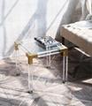 金屬鍍鉻或金框,透明壓克力茶几