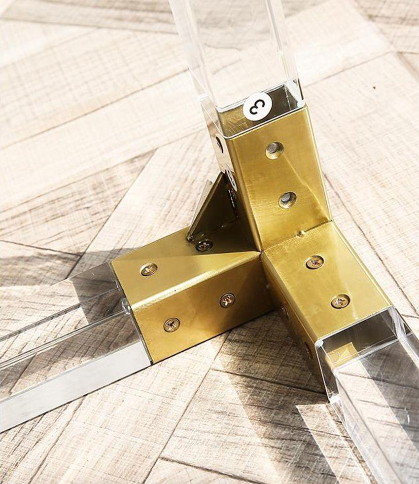 金属镀铬或金框,透明压克力茶几 4