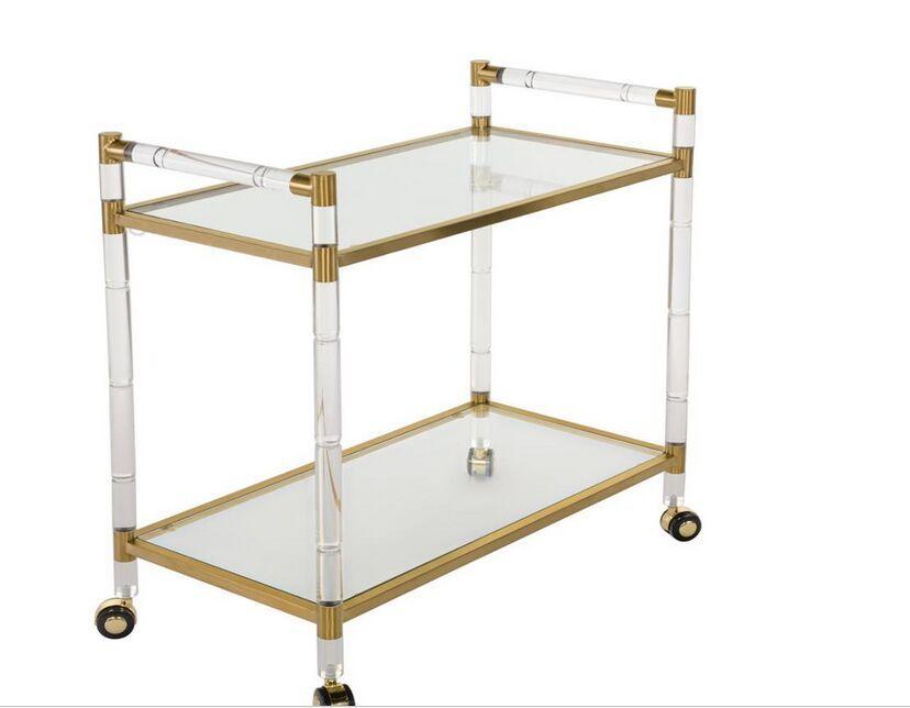 Acrylic trolley with wheels