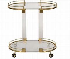 Acrylic hotel  trolley with wheels