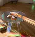 Acrylic rainbow colored end table rainbow acrylic side table