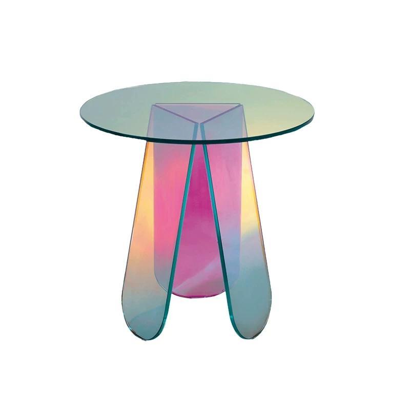 Acrylic rainbow colored end table rainbow acrylic side table 1