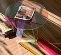 Acrylic rainbow colored end table rainbow acrylic side table 7