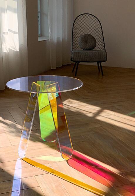 Acrylic rainbow colored end table rainbow acrylic side table 10