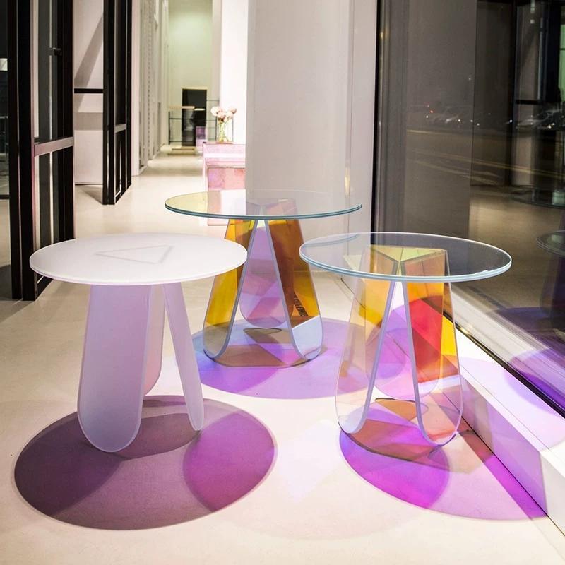 Acrylic rainbow colored end table rainbow acrylic side table 14