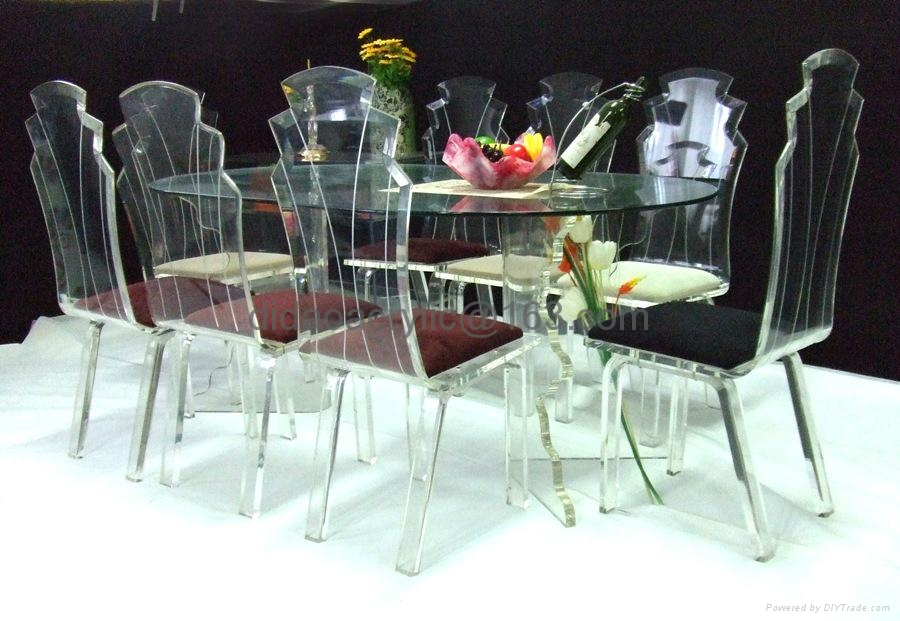 Transparent acrylic dining table for 8 persons ct d01 for Sillas de acrilico
