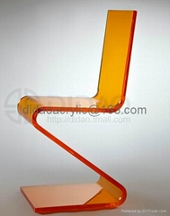 acrylic Z-shaped lucite chair ,pelxiglass clear chair