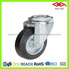 4寸孔頂鋼轂黑膠輪