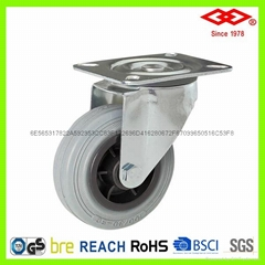 6.4寸萬向塑芯灰膠輪歐式工業輪