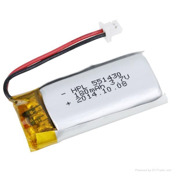 3.7V bluetooth Li-polymer battery HPL551430 180mAh 1