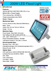 200W LED Flood Light with NICHIA LED Mean Well Power