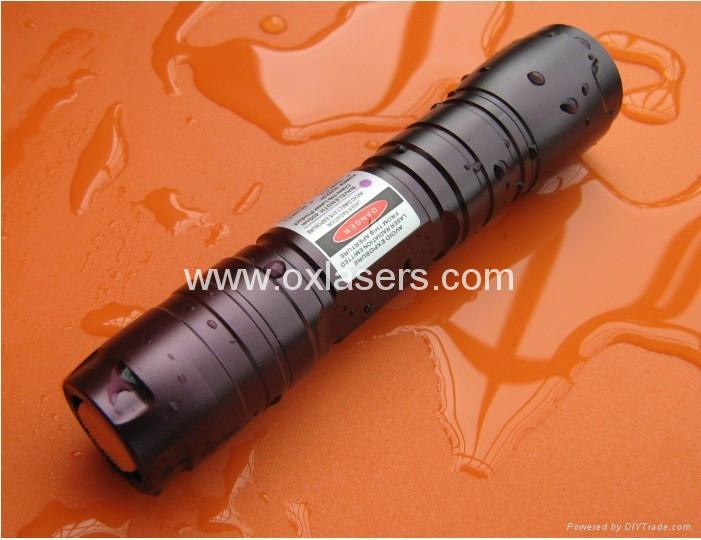 200mw high power waterproof burning blue viole laser pointer with focusable lens 3