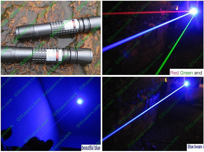 1000mW 445nm waterproof focusable true blue laser pointer burning torch 4