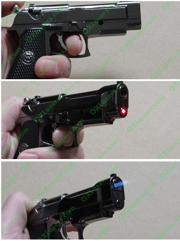 Gun style cigerettes lighter with a 5mw red laser pointer sight FREE SHIPPING 2