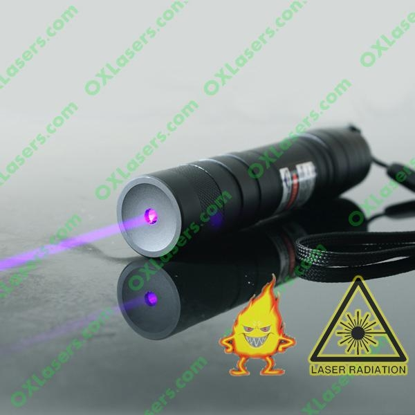 100mW 405nm focusable purple/violet blue laser pointer torch burn matches