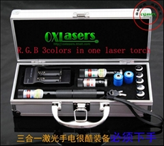 OXLasers RGB301 1000MW blue+200mw red+100mw green 3 in 1 burning  laser pointer