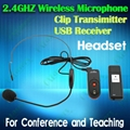 OXLasers 2.4GHz headset microphone with USB bluetooth receiver for conference