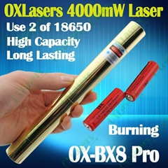 OXLasers OX-BX8 Pro. full brass 4000mw 4W high powered Blue Lazer Pointer laser (Hot Product - 1*)