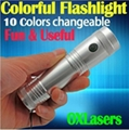 OXLasers 3W 10 colors RGB full color flashlight 10 in 1 LED torch flashlight